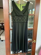 Fabulous Sheer Look Black/Green V- Neck  Fit-Flare Cocktail Dress size 10