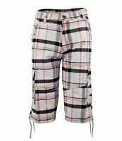 New Mens Cotton Yarn Dye Check Cargo Combat Shorts Beach Swim Surf Casual Trunks