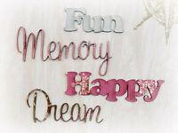 MEMORY FUN HAPPY DREAM x 4 wordsEaPk CHIPWOOD WORDS 5-7cmLong &2-4.5cmHigh ConA