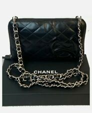 CERTIFIED AUTH. CHANEL Calfskin Black Leather Quilted Long Wallet W/CHAIN & BOX