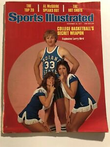 1977 Sports Illustrated INDIANA State LARRY BIRD NCAA Preview NO LABEL 1st Cover