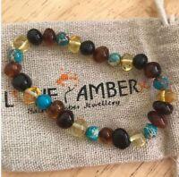 100% REAL Adult Autumn Rain Jasper Rainbow Mixed Baltic Amber Stretch Bracelet