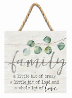 """Family Little Crazy Loud Lot of Love White 7X7"""" Wood Pallet Wall Hanging Sign"""