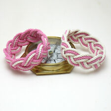 Mystic Knotwork: Sailor Knot Rope Bracelet in Pink, Sweetheart Set of Two