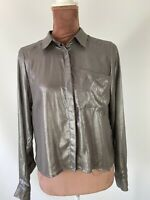 H&M Sheer Chiffon Grey Sparkly Elegant Shirt Button Up Blouse size 4