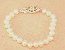 """STERLING SILVER 4.3 MM FRESHWATER PEARL BABY OR DOLL 4"""" BRACELET KNOTTED"""