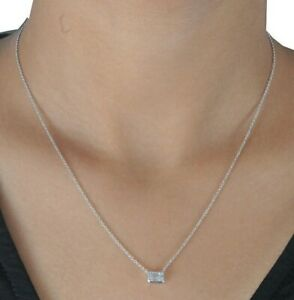 White Emerald-cut CZ Thin Chain Necklace Bezel set 925 Sterling Silver Gift her