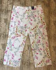 Gorgeous! M&S COLLECTION Floral Print Wide Leg Trousers ~Sz 22 REG~ Cream Mix
