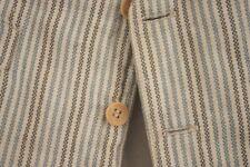 Men's vest waistcoat French chore work wear blue grey stripes gray striped