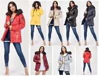 Womens Puffer Winter Faux Fur Hooded Quilted Padded Jacket Parka Badge Coat New