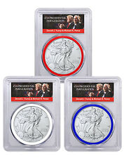 2017 Silver Eagle 3-Coin Set PCGS MS70 FS RWB Trump & Pence Label SKU45780