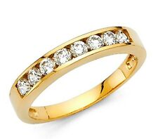 14k Solid Yellow Gold Wedding Band 0.75 ct Round Cut Channel Set Classic Ring
