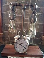 Vintage style Industrial Iron Pipe 2 tier Table lamp with Nostalgic Clock