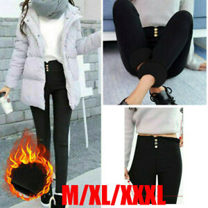 Winter Women's Warm Thick Trousers Ladies Lined Thermal Stretchy Leggings Pants