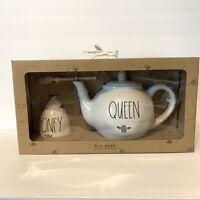 Rae Dunn Queen Bee Teapot And Honey Bee Pot Gift Set NEW