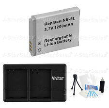 NB-6LH Replacement Battery & USB Dual Charger for Canon PowerShot SD1200 SD3500