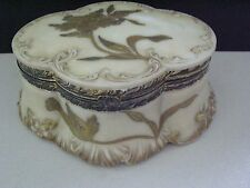 Vintage Mt. Washington Pairpoint Large Oval Jewelry / Dresser Box W/ Hinged Lid