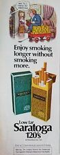 1981 Philip Morris Saratoga Cigarettes Wait Til Finish Smoking Cartoon Color Ad