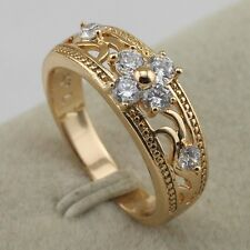 Size 5.5~8.5 Gorgeous Nice White CZ Fashion Jewelry Gift Gold Filled Ring rj1941