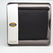 Fossil Wallet, JF84689040 Men's Business Genuine Leather/Stainless Steel RRP$69