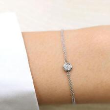 Double Row Chain Diamond Bracelet.Women's Dainty Bracelet.Round Cut Bracelet.