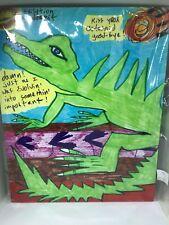 Abstract Folk Pop Modern Cartoon Art Print Lizard