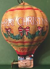 LITHOGRAPHED TIN HOT  AIR BALLOON W PROPELLER VTG MERRY CHRISTMAS ORNAMENT 1993