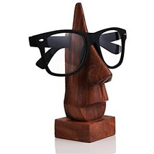 Store Indya Wooden Nose Shaped Eyeglass Spectacle Holder Handmade Stand For Desk
