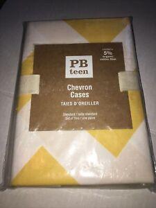 Pottery Barn Teen Pillow Cases Yellow White Chevron PAIR Standard