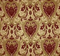 """57"""" Wide Upholstery Drapery Chenille Damask Fabric Crimson Red by The Yard"""