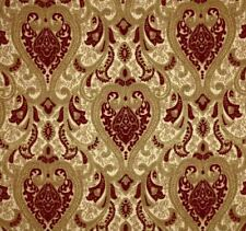 "57"" Wide Upholstery Drapery Chenille Damask Fabric Crimson Red by The Yard"