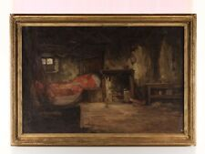 c1940 Newlyn School Cornish Cottage Interior Oil Painting