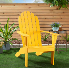 Wood Adirondack Chair Outdoor Patio Chaise Lounge Deck Reclined Bench Yellow