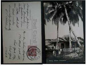 "RARE 1925 Straits Settlements Postcard ""Malay House Singapore"" ties 6c to USA"