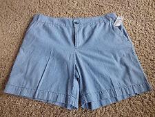 CHAPS women's NWT sz 14 blue/white vertical striped mid rise cotton shorts