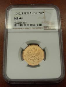 Finland Russia 1912 S Gold 20 Markkaa NGC MS64
