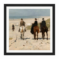 More details for anton mauve morning ride along beach horse painting square framed wall art 16x16