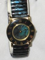 MULTI COLOR TORTOISE LOOK STRETCH EXPANSION BAND FASHION WATCH*ROMAN NUMERALS*