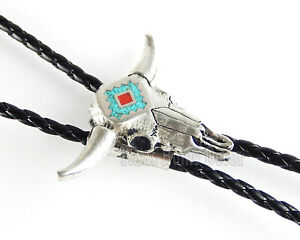 """Steer Head Bolo Tie Turquoise Coral Southwestern Adjustable 38"""" Cord USA Made"""