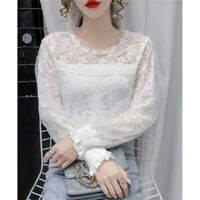 2021 Spring New Women Lace Crochet Long Sleeve Crew Neck Casual Shirt Blouse Top