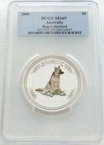 2006 Australia Lunar Dog German Shepherd $8 Dollar Silver 5oz Coin PCGS MS69