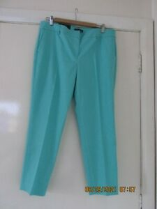 WOMEN HILLARY RADLEY CLASSIC CASUAL  TROUSERS TURQUOISE SIZE 16 NEW