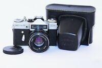 RARE 1973 ZENIT EM Silver Cyrillic Soviet SLR film camera w/s lens Helios 44M
