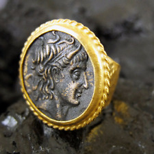 Handmade Hammered Designer Men Roman Coin Ring 22K Gold Over 925 Sterling Silver