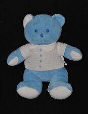Peluche doudou ours bleu MUSTELA MUSTI polo blanc 26 cm TTBE