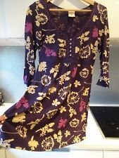 WHITE STUFF purple cream floral embroidered tunic dress Size 14 Check COMMENT