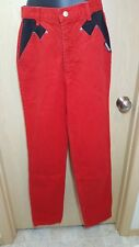 Roughrider Circle T Red Jeans Black Pockets 7/8 26/35 Tall High Waist Costume