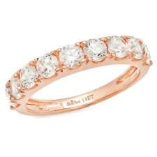 1.7ct Round Cut Stackable Bridal Wedding Petite Anniversary Band 14k Rose Gold