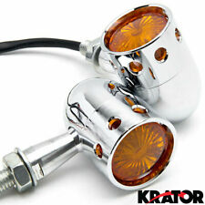 Motorcycle Cruiser Chrome Turn Signals Blinker Indicator Lights with Amber Lens