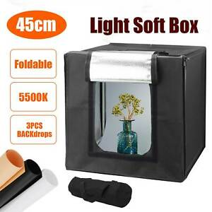 18'' Photo Studio Lighting Box Mini Portable Photography Backdrop LED Light Room